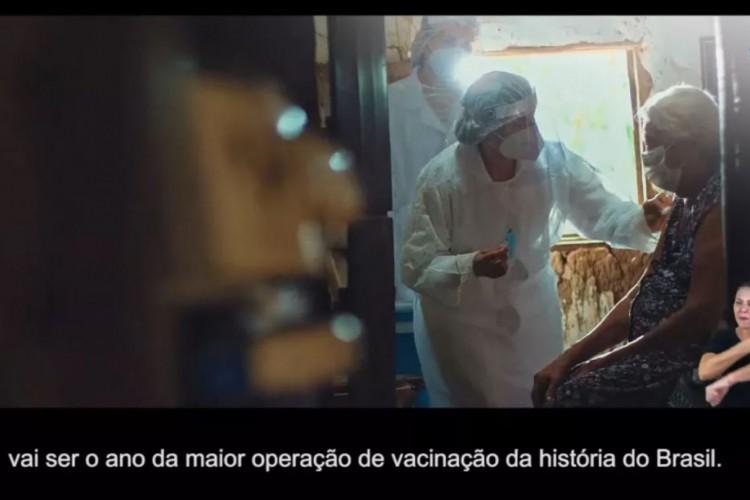 Campanha sobre vacinação do Ministério das Comunicações foi veiculada três meses após início da aplicação das vacinas  (Foto: Reprodução MCOM/Secom/Agência Pública)