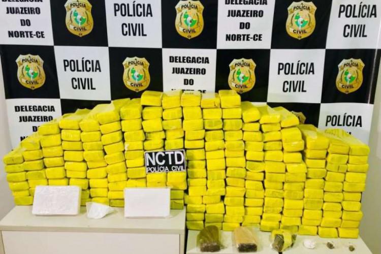 A maior quantidade de drogas apreendidas este ano, até o fim de maio, no Cariri, foi de 163 quilos de maconha (Foto: Foto: SSPDS)
