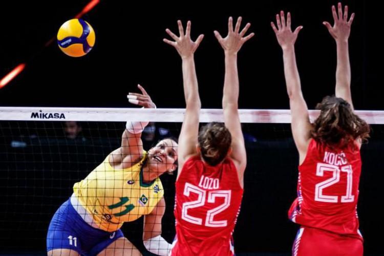 Brasil atropela Sérvia e mantém boa fase na Liga das Nações de Vôlei (Foto: )