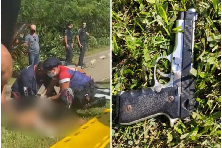 Jovem foi detido com um simulacro de arma de fogo e o celular de uma das vítimas. (Foto: Reprodução/ Facebook/ Plantão Guarujá)