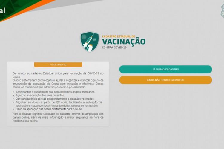 Cadastro de vacinação no Ceará contra Covid-19.