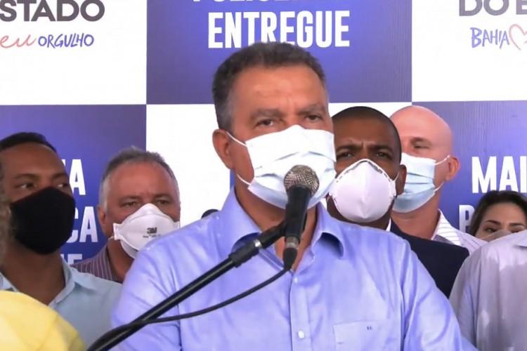 Durante inauguração de policlínica no município de Eunápolis, nesta quinta, 10, Rui Costa destacou preocupação com a pandemia na Bahia após período junino (Foto: Reprodução/Instagram)