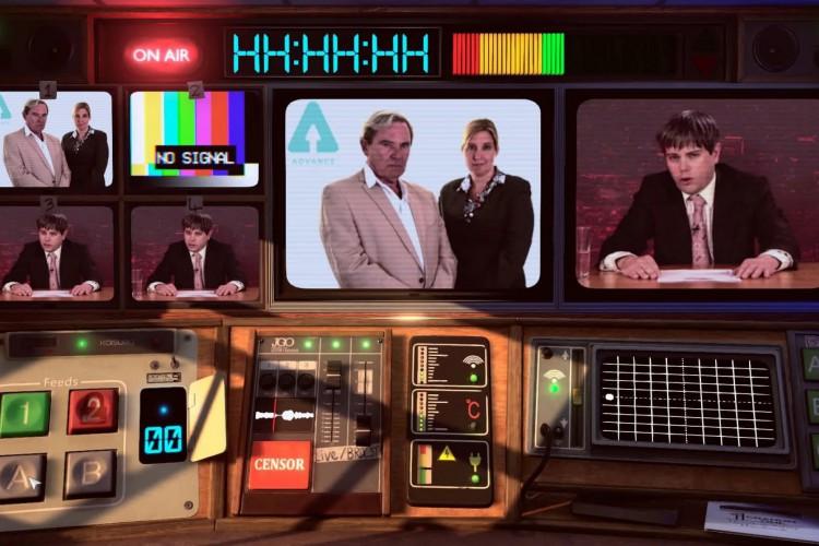O cenário apresentado ao jogador é um painel para controlar aquilo que é transmitido para a televisão (Foto: Divulgação/Not For Broadcast)