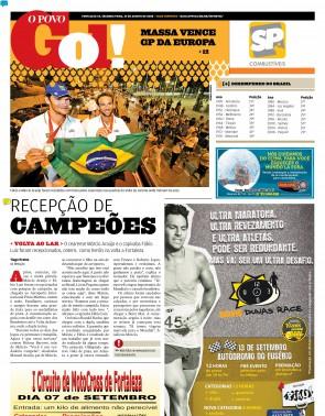 O POVO de 25 de agosto de 2008 mostrou a festa para Márcio Araújo e Fábio Luiz na volta ao Brasil