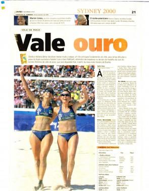 O POVO de 24 de setembro de 2000 mostrou a expectativa pela final olímpica do vôlei de praia, com Shelda e Adriana Behar na disputa