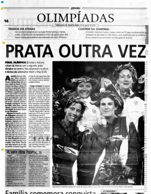 O POVO de 25 de agosto de 2004 destacava a segunda prata conquistada pela dupla Adriana Behar e Shelda