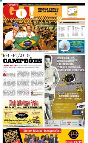 O POVO de 25 de agosto de 2008 mostrou a festa para Márcio Araújo e Fábio Luiz na volta ao Brasil(Foto: Acervo O POVO)