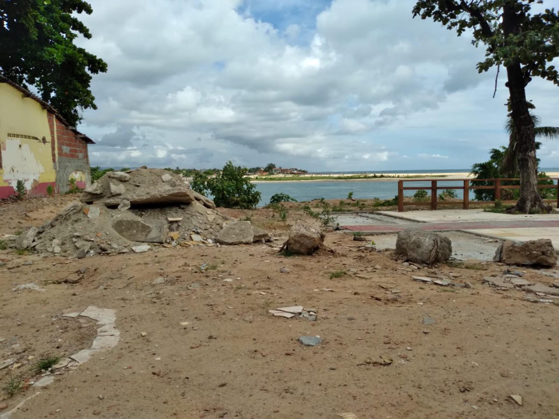 Obra de requalificação da Barra do Ceará, no Marco Zero de Fortaleza,
