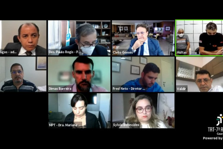 Estavam presentes na sessão conciliatória representantes do Sindiônibus e do Sintro (Foto: Reprodução/YouTube)