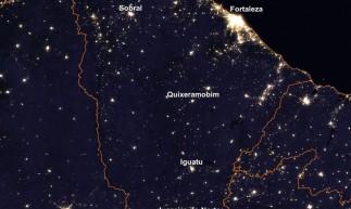 Imagem da Nasa mostra iluminação noturna do Ceará em 2016.