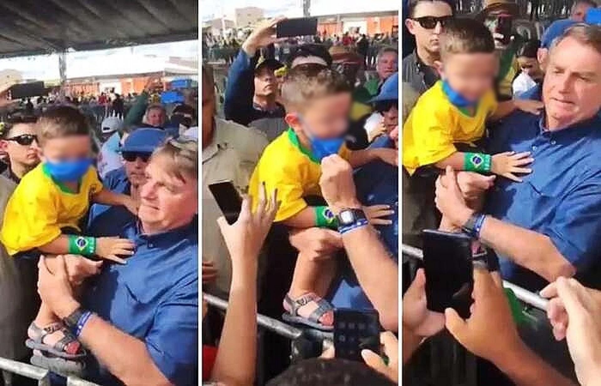 Em evento no Rio Grande do Norte, presidente Bolsonaro retira máscara de criança (Foto: Reprodução/redes sociais)