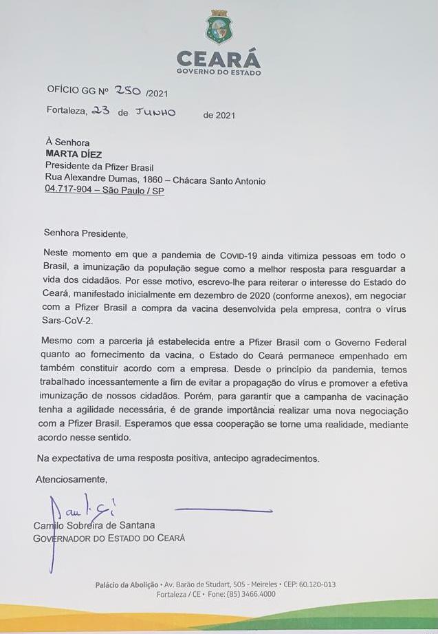 Ofício do Governo do Ceará mostra tentativa de negociar vacinas diretamente com a Pfizer