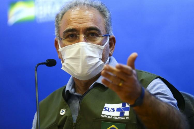 O ministro da Saúde, Marcelo Queiroga, durante entrevista coletiva. (Foto: Marcelo Camargo/Agência Brasil)