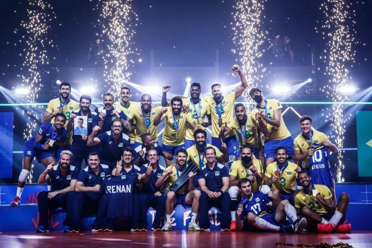 Liga das Nações de Vôlei consagra seleção brasileira como campeã (Foto: Divulgação/Volleyball World)