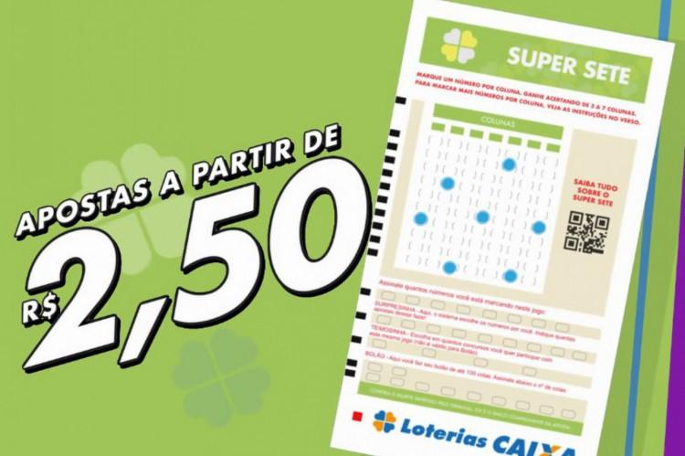 O resultado da Super Sete, Concurso 111, foi divulgado na tarde de hoje, quarta-feira, 30 de junho (30/06). O prêmio da loteria está estimado em R$ 200 mil (Foto: Divulgação/CEF)