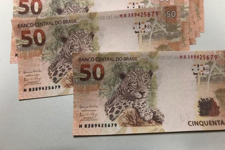 As notas eram todas de R$ 50  (Foto: PF/Reprodução)