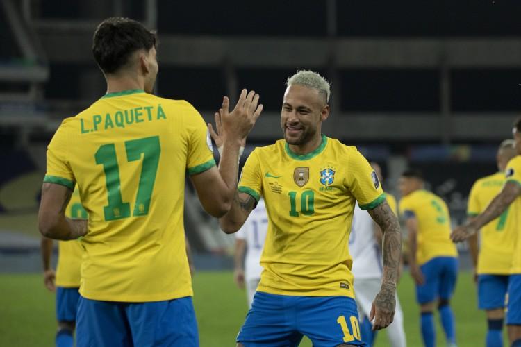 Lucas Paquetá marcou o único gol no Engenhão, após tabela com Neymar (Foto: Lucas Figueiredo / CBF)