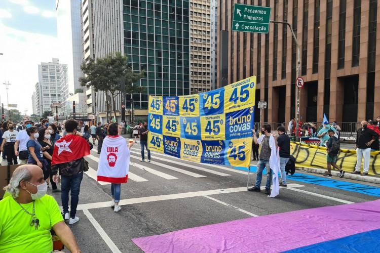 Tucanos unem-se a partidos de esquerda em manifestação contra Bolsonaro na capital paulista (Foto: Reprodução / Twitter)