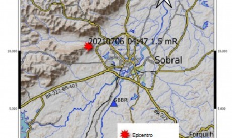 Tremor de terra, de magnitude preliminar 1.5 mR, foi registrado no município de Sobral na madrugada desta terça-feira, 6
