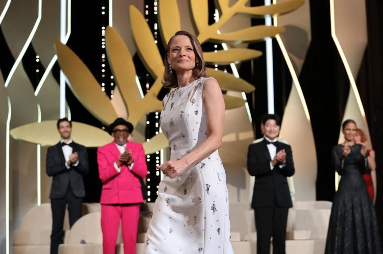 A atriz e diretora Jodie Foster chegando para a receber a Palma de Ouro no Festival de Cannes