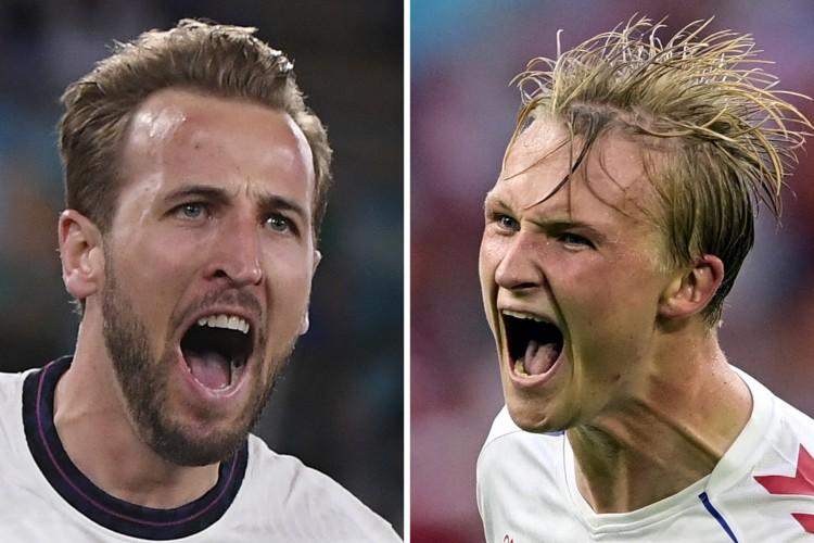 Inglaterra e Dinamarca se enfrentam hoje pela Eurocopa; veja onde assistir ao vivo à transmissão, prováveis escalações e qual horário do jogo (Foto: Olaf Kraak, Alberto LINGRIA / POOL / AFP)