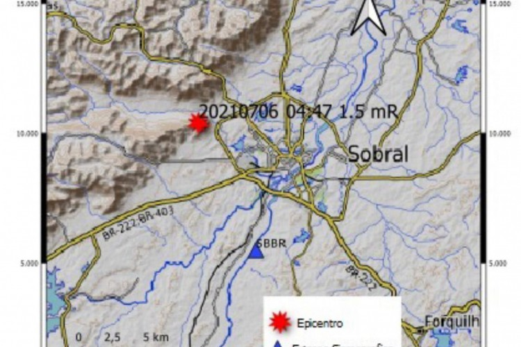 Tremor de terra, de magnitude preliminar 1.5 mR, foi registrado no município de Sobral na madrugada desta terça-feira, 6  (Foto: LabSis/UFRN)