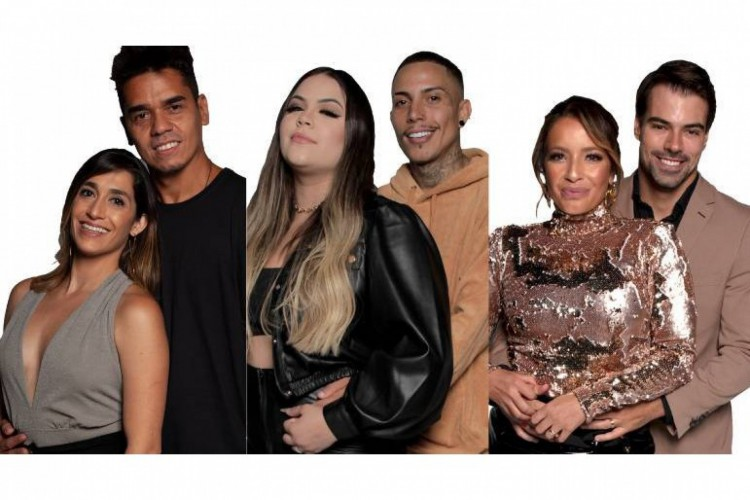 Dany e Fábio, Mari e Matheus e Renata e Leandro são os casais que estão na DR da semana no Power Couple Brasil 2021; vote no seu favorito para ficar no programa (Foto: Reprodução/R7)