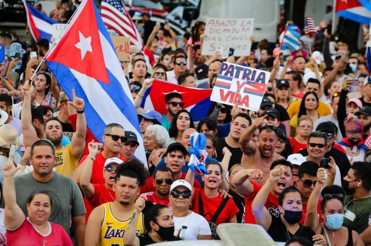 Protestos contra governo cubano tiveram apoio em Miami, Estados Unidos
