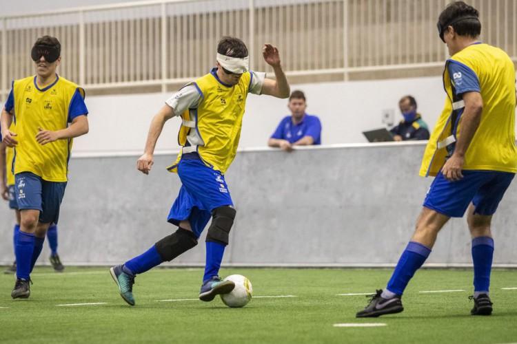 25.06.21 - Treino do futebol de 5 no CT Paralímpico Brasileiro, em São Paulo. Foto: Ale Cabral/CPB. (Foto: ALE CABRAL/CPB)