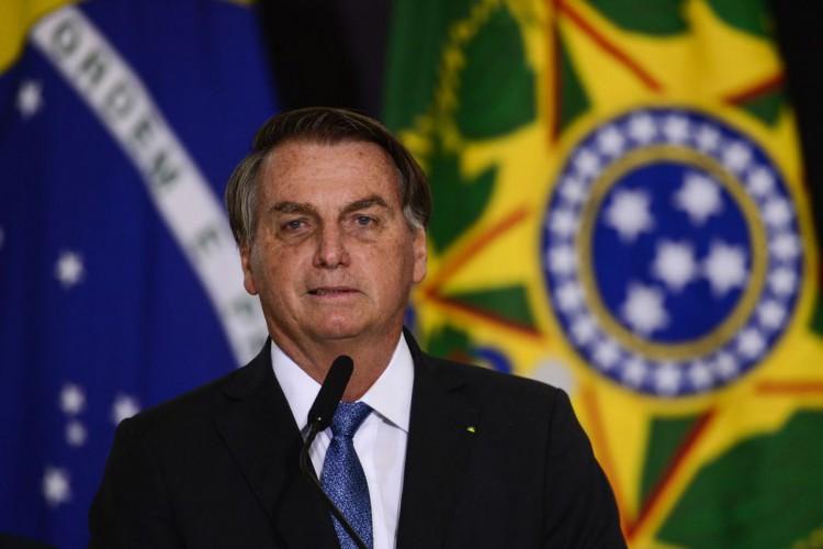 O presidente Jair Bolsonaro durante cerimônia de assinatura de acordo com os EUA para participar do Programa Lunar Nasa Artemis. (Foto: Marcelo Camargo/Agência Brasil)