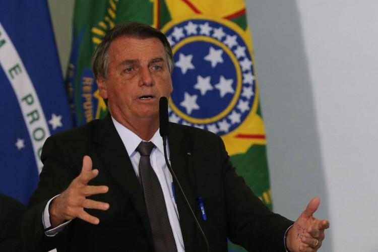 Presidente Jair Bolsonaro, discursa durante solenidade de sanção da lei de capitalização da Eletrobrás (Foto: )