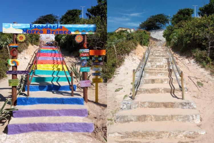 Antes e depois da reforma que deu uma identidade nova à escadaria que dá acesso à praia do Morro Branco, feita pelos moradores da região (Foto: Arquivo pessoal)