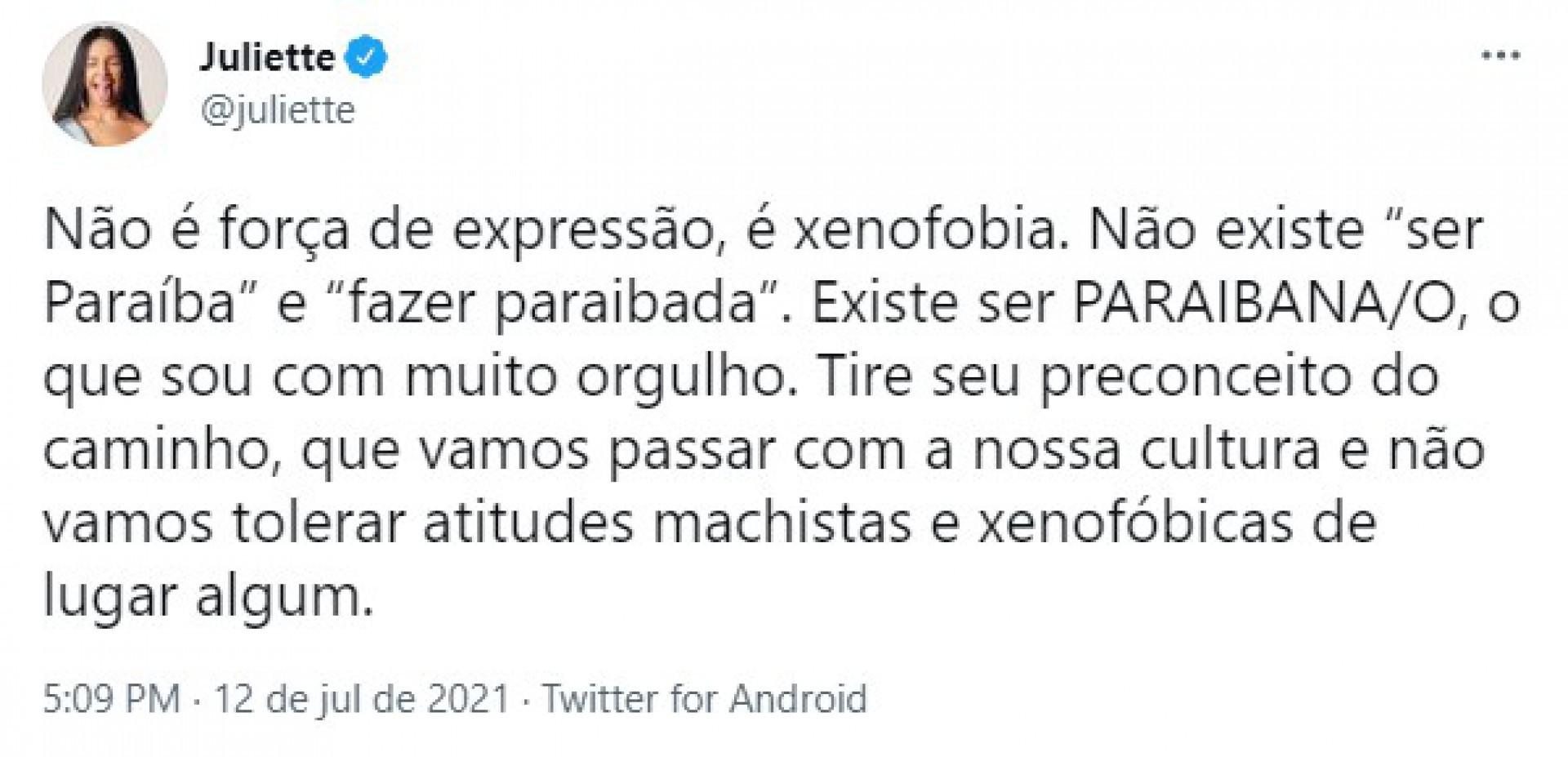 A ex-BBB e paraibana Juliette Freire se manifestou em suas redes sociais sobre o uso do termo (Foto: Reprodução/Twitter)