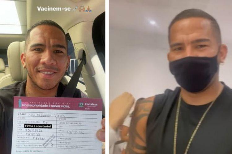 O atacante Jael, do Ceará, foi vacinado com a primeira dose contra a Covid-19 (Foto: REPRODUÇÃO)