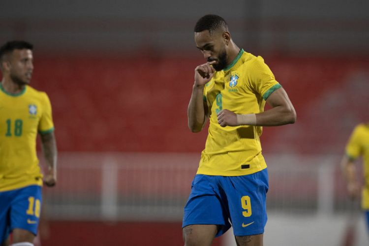 Matheus Cunha, centroavante da seleção brasileira olímpica, marcou dois gols (Foto: Lucas Figueiredo/CBF)