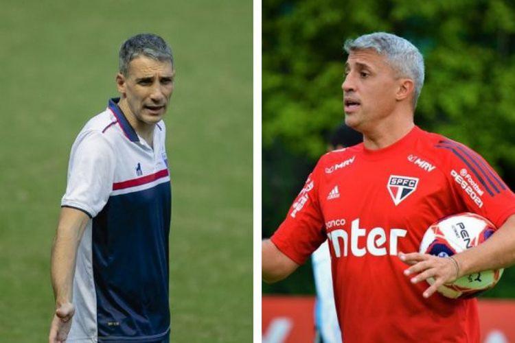 Vojvoda e Crespo se enfrentaram uma vez no Campeonato Argentino, em 2019 (Foto: Aurelio Alves/O POVO; São Paulo FC)
