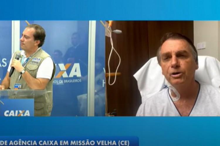 Do hospital, Bolsonaro participa de inauguração de agência da Caixa em Missão Velha (Foto: Reprodução/YouTube)
