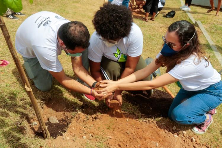 Momento da plantação de ipês-amarelos no Cuca Mondubim. (Foto: Bárbara Moira/ O POVO)