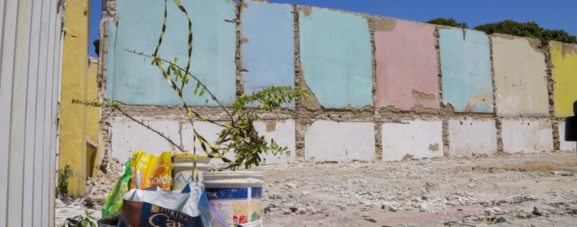 Paredão colorido foi o que restou do casarão dos Gondim, no Centro (Foto: Thais Mesquita)