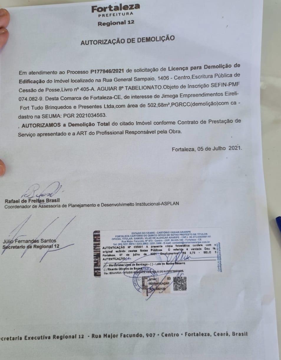 Documento mostra que demolição teve autorização da regional.