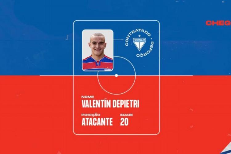 Atacante argentino Valentín Depietri assinou contrato até 2024 com o Fortaleza (Foto: Divulgação/Fortaleza EC)