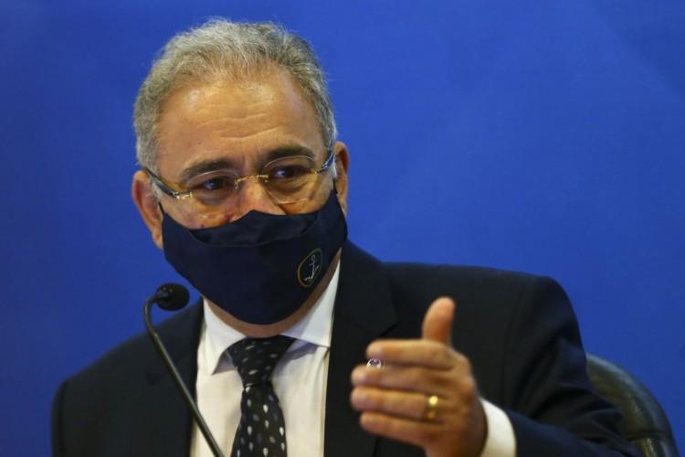 O Ministro da Saúde, Marcelo Queiroga, durante o lançamento do Plano Nacional de Fortalecimento das Residências em Saúde. (Foto: Marcelo Camargo/Agência Brasil)