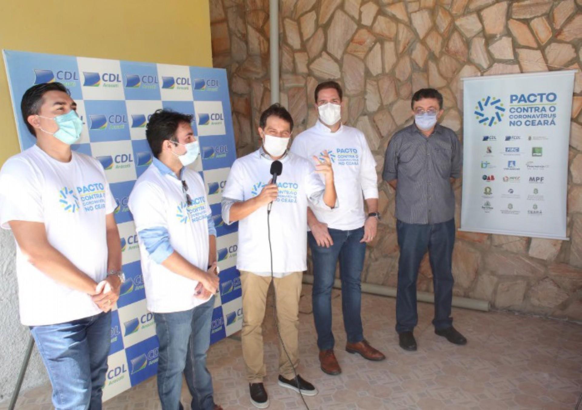 Evandro Leitão esteve com o Pacto contra o Coronavírus em Aracati e Morada Nova (Foto: DIVULGAÇÃO)
