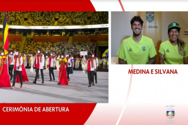 Silvana Lima e Gabriel Medina conversaram com o narrador Galvão Bueno na cerimônia de abertura da Olimpíada de Tóquio (Foto: REPRODUÇÃO/TV GLOBO)