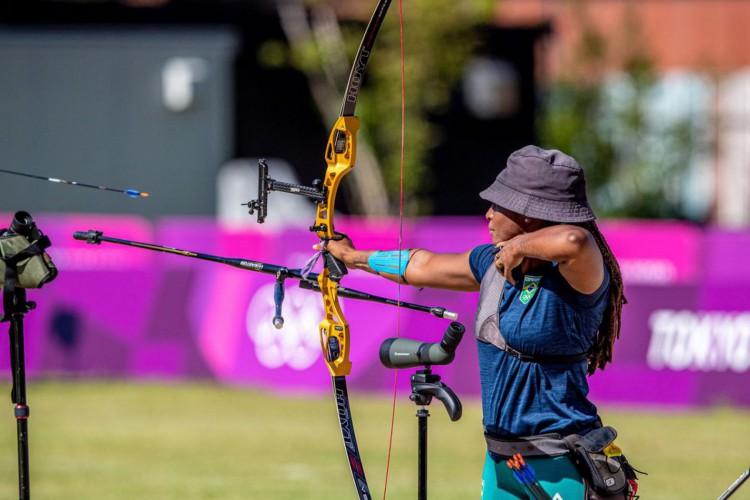 18.07.2021 - Jogos Olímpicos Tóquio 2020 - Treino da equipe de tiro com arco em Yumenoshima Archery Field. Na foto, destaque para a atleta Ane Marcelle. Foto: Miriam Jeske/COB (Foto: Miriam Jeske/COB)