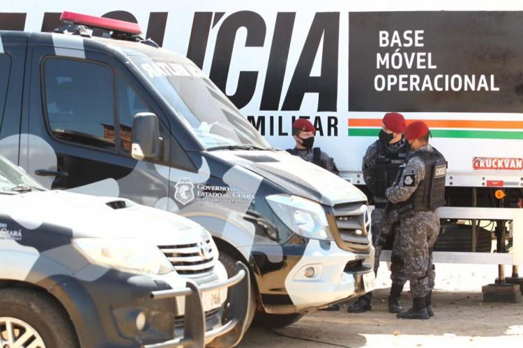 Base da PM instalada em Sítios novos/ Caucaia. (Foto: Fabio Lima/O POVO)