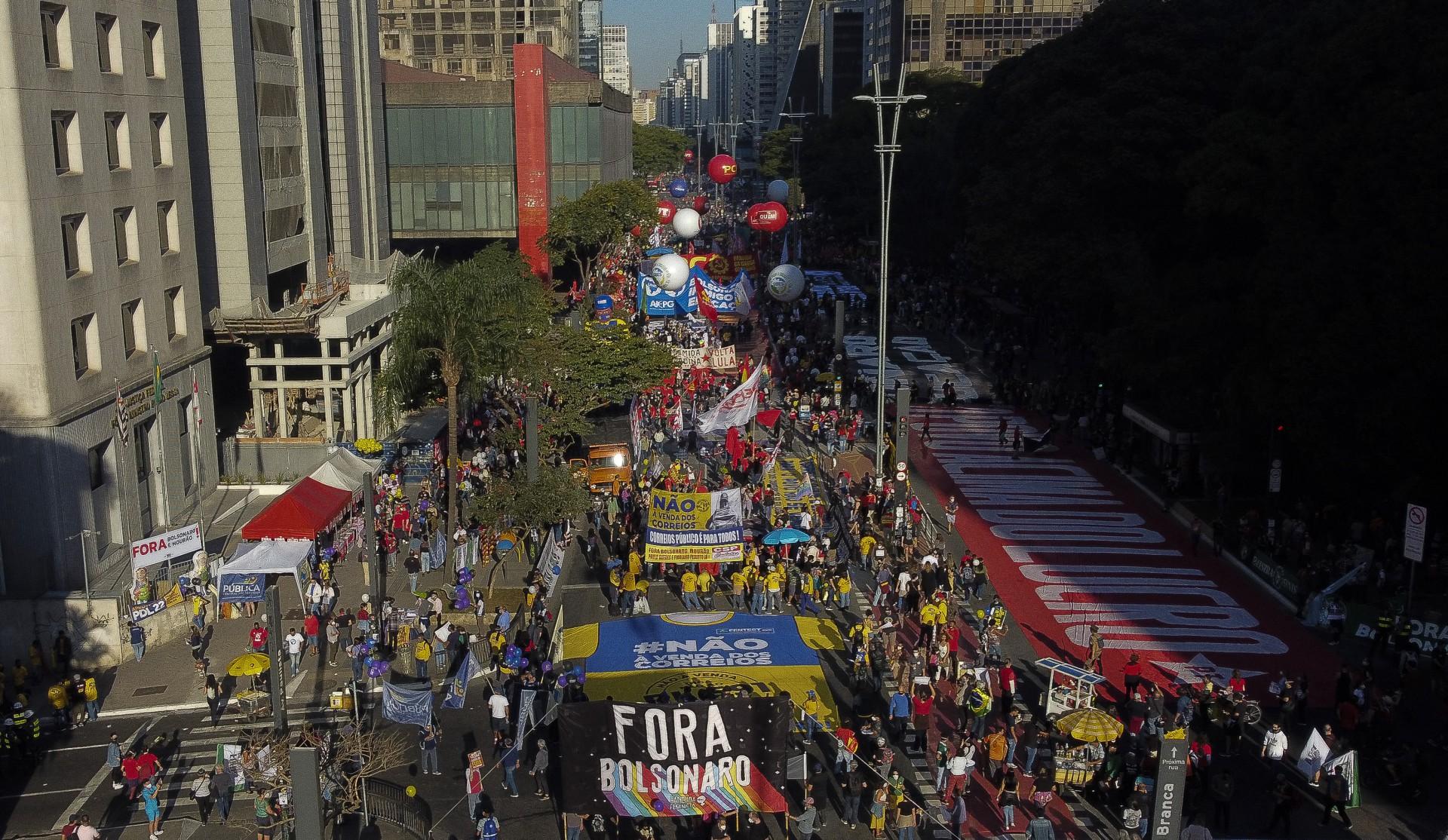 Cerca de oito quarteirões da Avenida Paulista foram ocupados pelo ato de ontem (Foto: AFP)