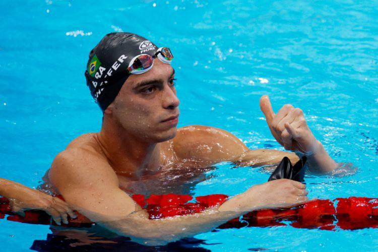 Fernando Scheffer garantiu vaga na semifinal dos 200m livres e quebrou recorde sul-americano (Foto: Odd ANDERSEN / AFP)