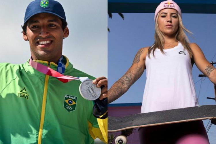 Kelvin Hoefler e Leticia Bufoni explicaram a convivência nos bastidores das Olimpíadas após a repercussão de suposta treta no skate do Brasil (Foto: Jeff Pachoud AFP / Atiba Jefferson Red Bull Content Pool)