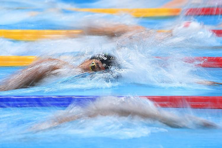 O quarteto brasileiro competiu na prova de revezamento 4x200m livre masculino e conseguiu uma vaga na final durante os Jogos Olímpicos de Tóquio 2020  (Foto: Jonathan NACKSTRAND / AFP)